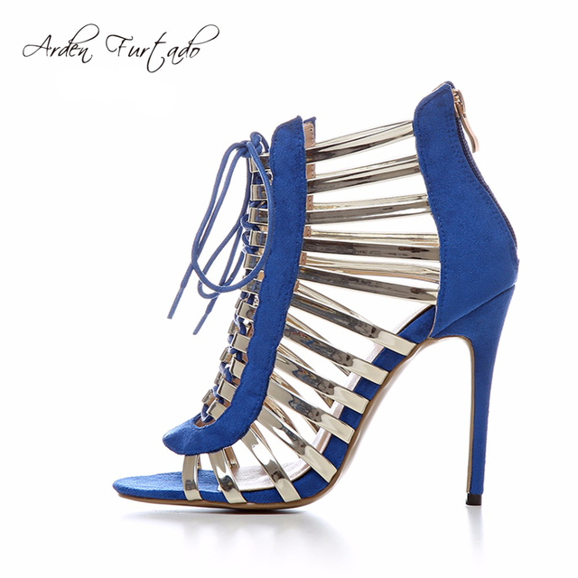 cb607126ada New 2017 extreme high heels 12cm sexy party Stiletto blue ankle boots shoes  for woman suede plus size gladiator strappy sandals