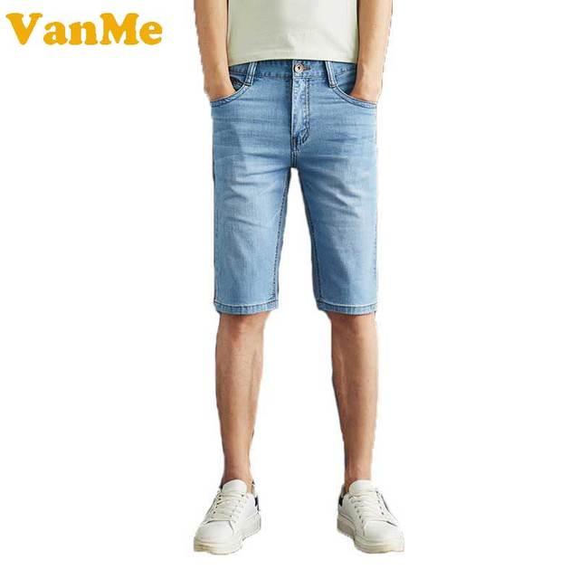 2017 Verão Nova dos homens Shorts Agradavelmente Fresco Cor Sólida Simples  Calça Jeans Homens de Design d672db584c556