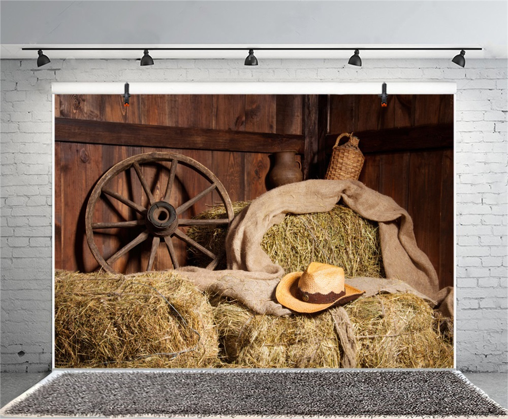 Laeacco Farm Wooden House Haystack Wheel Scene Celebration Party Photographic Backgrounds Photography Backdrops For Photo Studio in Background from Consumer Electronics