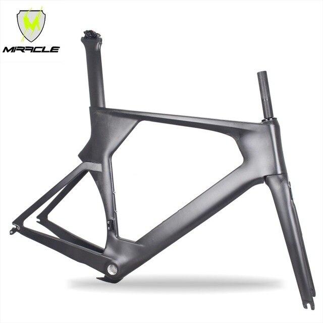 Cadre de vélo TT carbone 2019 MIRACLE pas cher cadre de vélo de course Di2 Aero 700C comprend cadre/fourche/tige de selle/pince