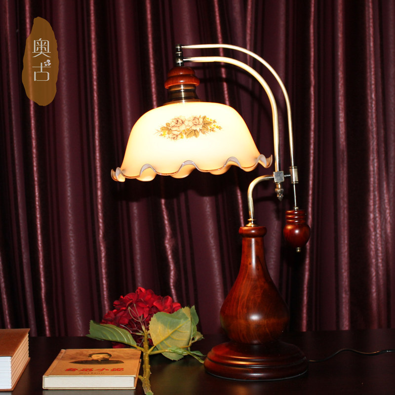 European creative pastoral bedside lamp bedroom lamp England Complex classic wood table lamp A-62