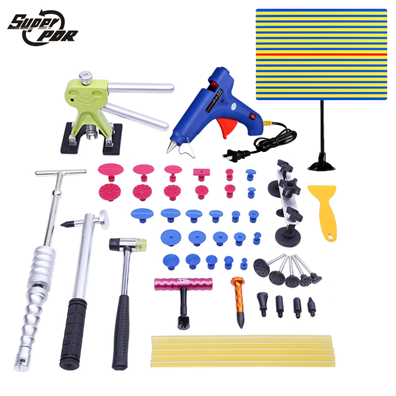 PDR Paintless Dent Repair Removal Tools for car  reflector board slide hammer pulling bridge dent puller hand tools pdr tool kit dent removal paintless dent repair tools straighten the dents bridge puller pulling bridge adhesive glue gun tools