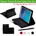 Slim Fit PU carteira de couro de teclado ABS destacável teclado Bluetooth Stand Case capa para Samsung Galaxy Tab E 9.6 '' Tablet