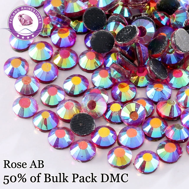 Special ! Color Rose AB SS6 - SS30 Tron On crystal  DMC Hotfix Rhinestones For Clothing Accessories DIY Decoration