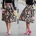 Ropa de Señora Fashion Women Faldas Retro de Cintura Alta Floral Plisado Partido Midi Skater Falda Flor de La Vendimia Nueva