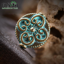 10pcs 13*15mm Alloy Verdigris Patina Plated Roung Flat Flower Beads Charms For DIY Jewelry Making Bracelet Accessories 27046