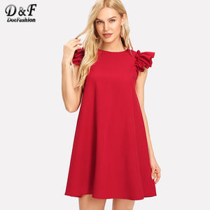 0b7662b8b Dotfashion Button Keyhole Back Ruffle Shoulder Swing Dress Round Neck Frill  Casual Dresses Women Summer Red Sleeveless Dress