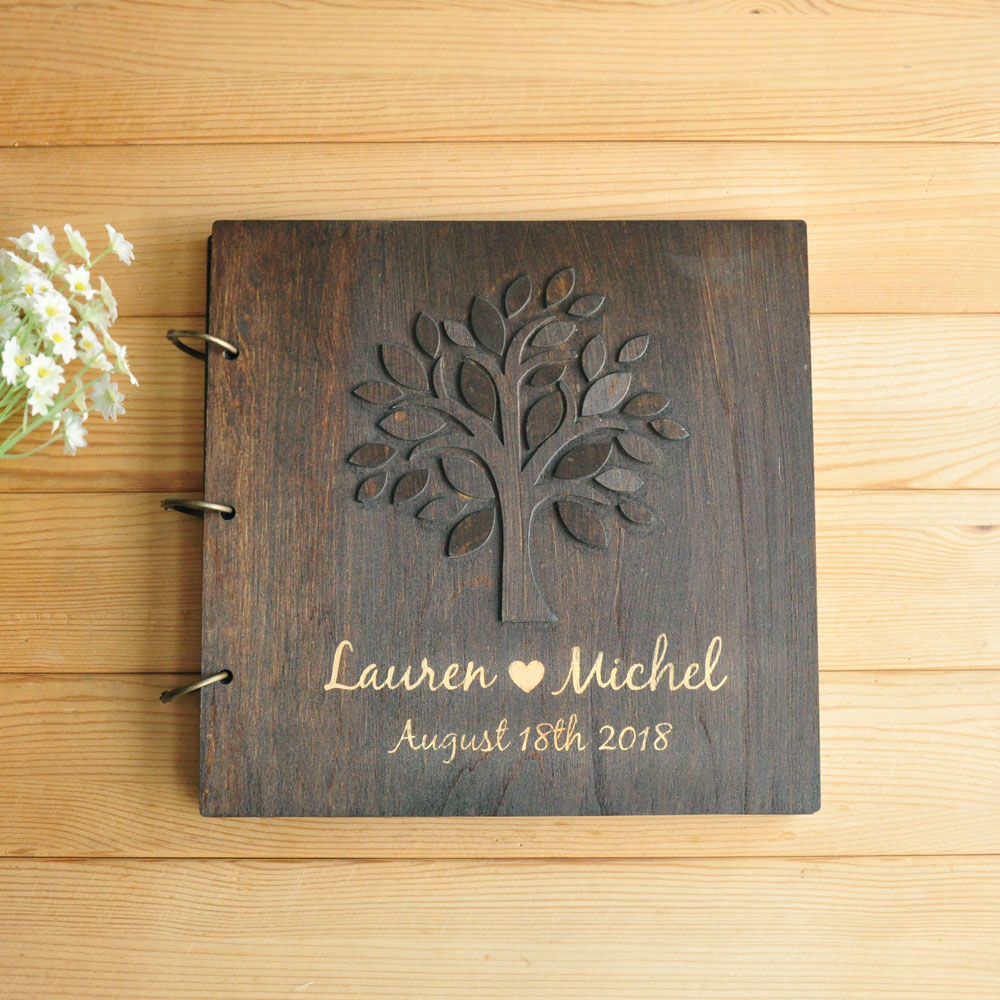 Blank Wooden Guest Book Personalised Wedding Guest Book Plain Scrapbook Blank Scrapbook Personalised Memory Book Personalised Scrapbook