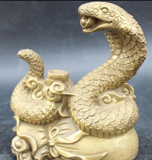 Free 20cm Chinese Brass Bronze Carving Wealth Money Bag Snake Snakes Sculpture Statue Fast
