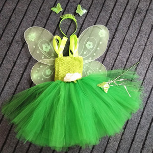 Girls Green Fairy Flower Tutu Dress Kids Fluffy 2Layer Tulle Tutus with Butterfly Wing Headband Set Children Cosplay Party Dress(China)