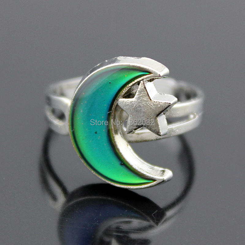 Fashion Girl Womens Moon Star Mood Rings Color Changing Emotion