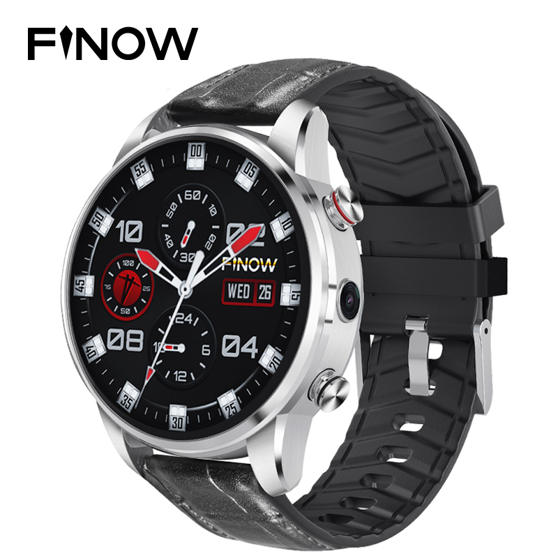 Finow X7 4G SmartWatch 1 39 inch AMOLED 400 400 Display GPS GLONASS Quad Core 16GB 600mAh Hybrid Leather Strap Smart Watch Men in Smart Watches from Consumer Electronics