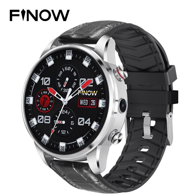 Montre intelligente Finow X7 4G 1.39 pouces AMOLED 400*400 affichage GPS/GLONASS Quad Core 16 GB 600 mAh bracelet en cuir hybride montre intelligente hommes