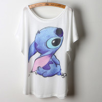 Personalized Hand Painted Cartoon Lilo Stitch Pattern Home Loose Comfortable Casual Cute Kawaii T Shirt Women