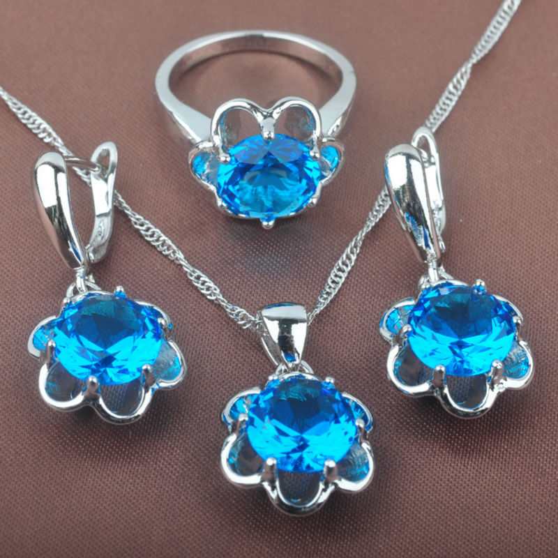 Earrings Jewelry-Sets Necklace Pendant Best-Gift Silver-Color Cubic-Zirconia Flower Simple