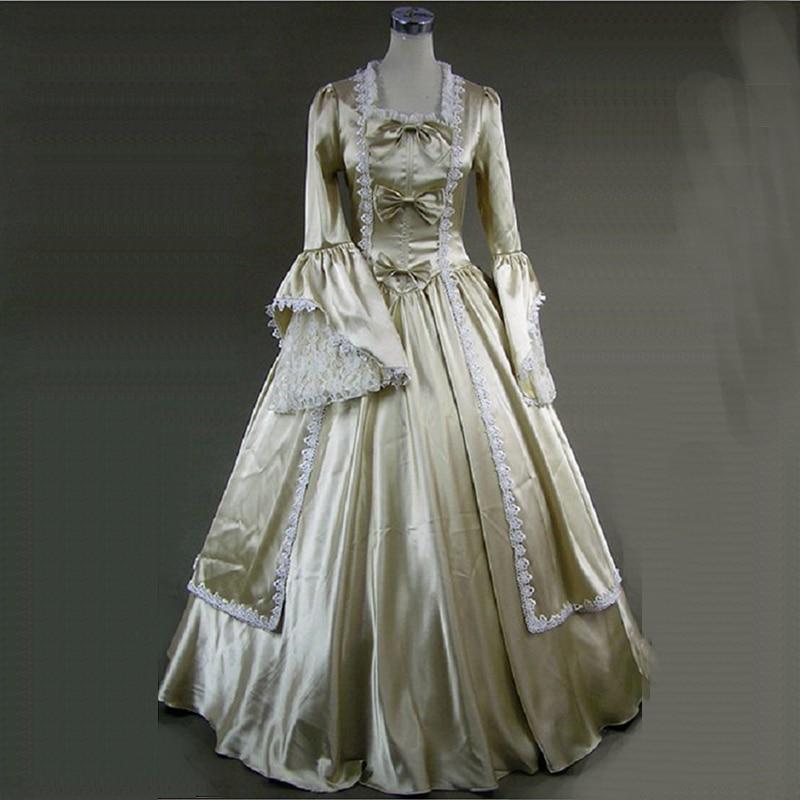 Retro Champagne Long Sleeve Princess Dress 18th Century European ...