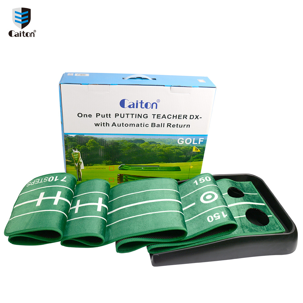 Caiton golf putting trainer Golf Putting Green Golf putting practice aids caiton portable golf putter set kit with ball hole cup for travel indoor golf putting practice top grade redwood golf gift