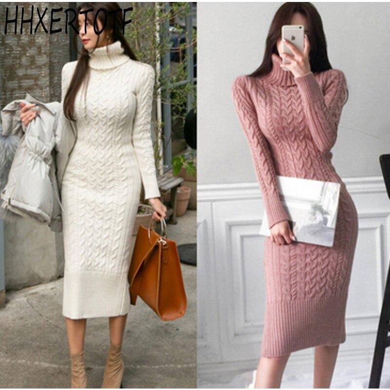 2018 autumn winter Women Sweater Dress Warm Thick Knitted Sweater Dresses Female Long Sleeve Twist Knitwear