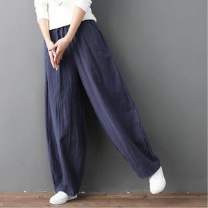 Image 3 - Streetwear Women Wide Leg Pants Cotton Linen Pockets High Waist Pants Lantern Trousers Solid Plus Size M 7XL Khaki Black