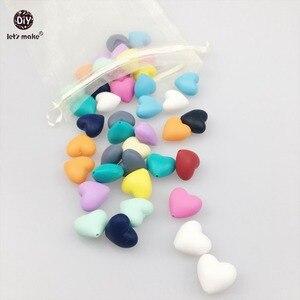Image 1 - בואו לעשות 300pc סיליקון חרוזים לערבב צבע לב צורת DIY שרשרת צמיד בקיעת שיניים ילד סיעוד כושר צעצועי תינוק teether 20mm