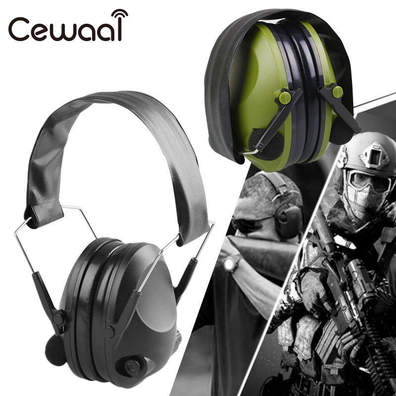 Cewaal Green Outdoor Protection Headphone Tactical Anti-Noise Impact Electronic Earmuff Fold Ear Hearing Sport Hunting Earmuffs