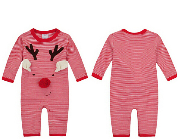 2015 New Arrival Spring Autumn Winter Rompers Long Sleeve Romper Santa Costumes Santa Baby Clothes Red Deer Rompers