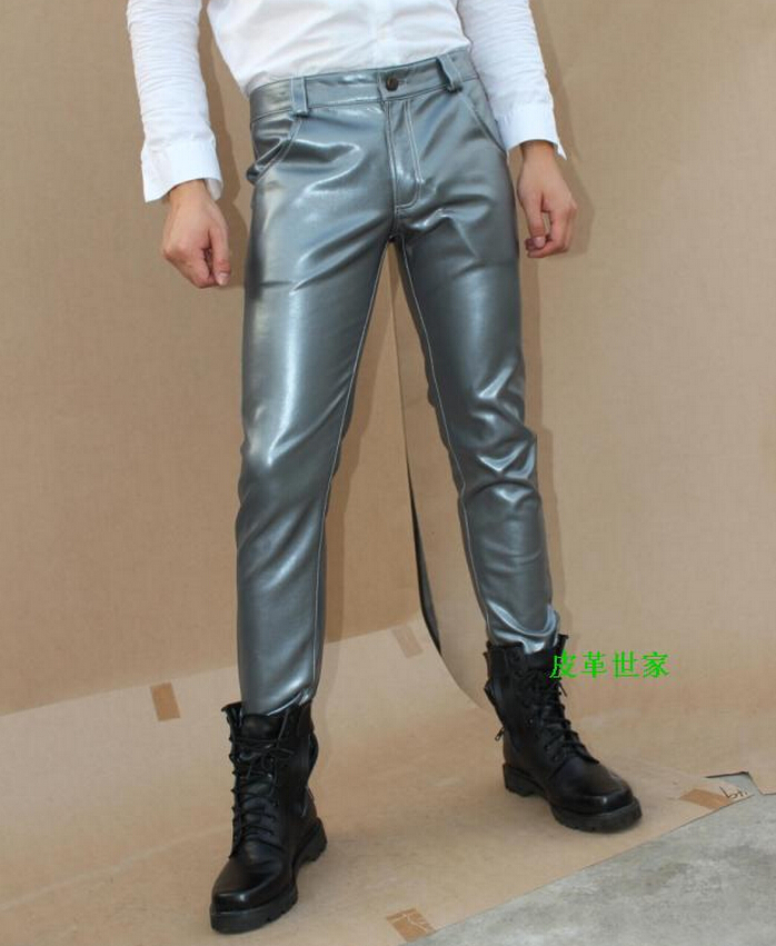 29-39 ! Mens casual clothing slim boot cut jeans black silver red male leather pants plus size trousers stage singer costumes