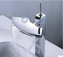 Ванная комната полный медь бас стол умывальник Водопад кран хром закончил горячей и холодной Banheiro torneira Робине salle de Bain