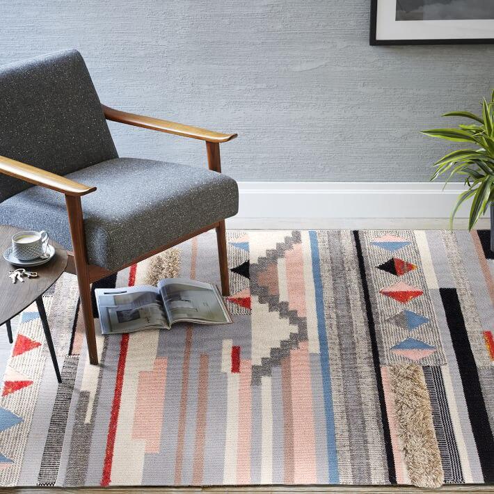 Inde nord Europe concis moderne en trois dimensions motif laine manuel tapis concis frais un salon chambre tapis