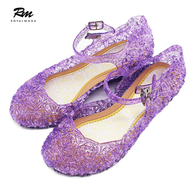 2909c898dd US $12.9  2019 Cinderella series jelly shoes for girls summer sandals rose  hole jelly sandals frozen jelly shoes pvc shoes for kids-in Sandals from ...