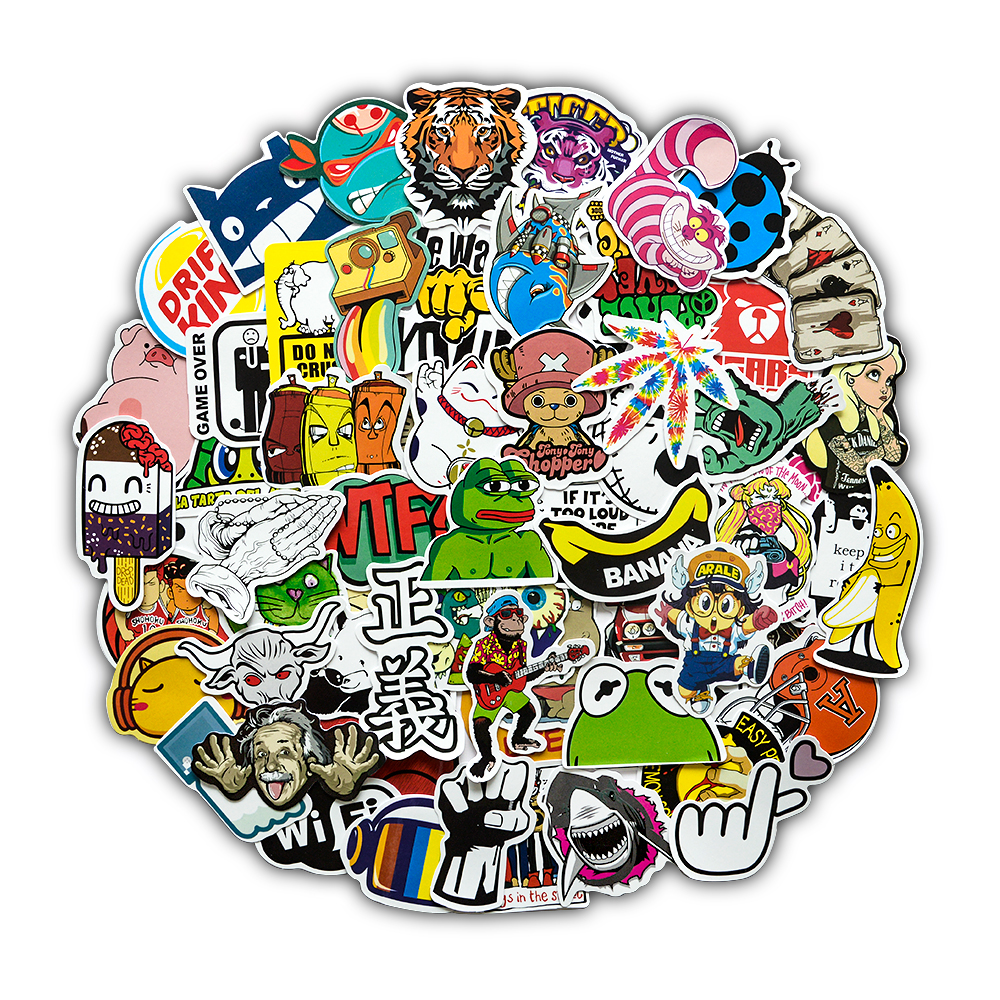 Random Color Styles Stickers For Laptop Suitcase Phone Car Bike Motorcycle Cool JDM Kids Graffiti Sticker Bomb Decals (50PCs)