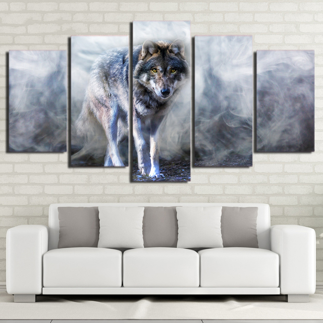 Wall Picture Print 5 Piece Wolf Painting Modular Poster White Smoke ...