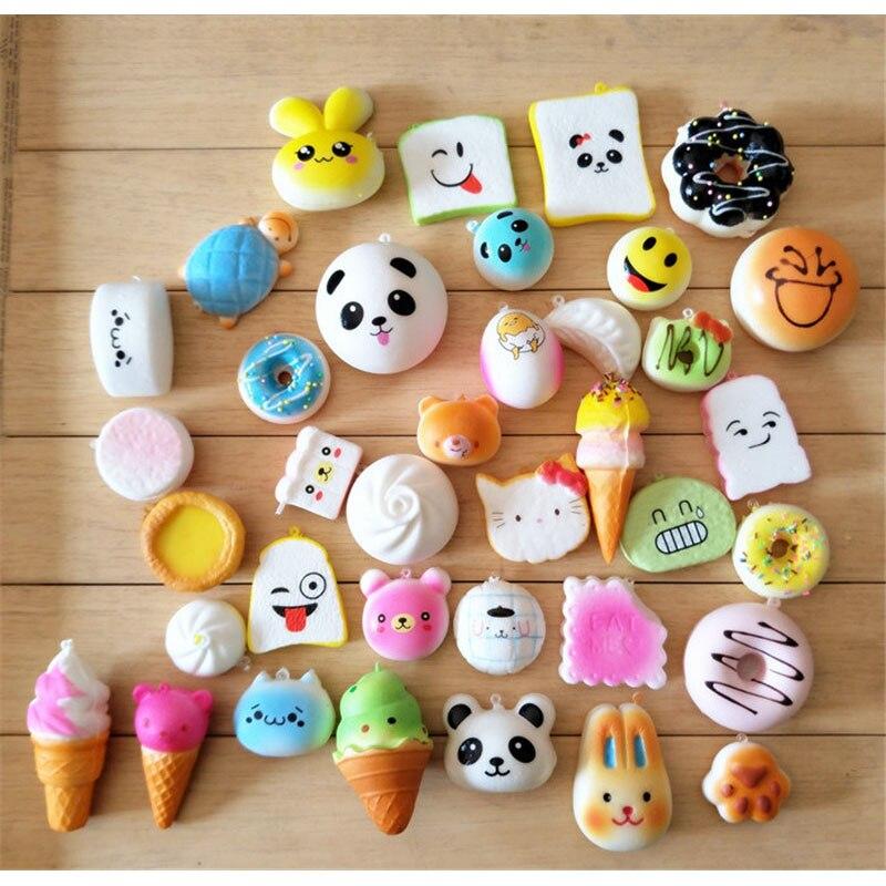 Random 12pcs kawaii cartoon squeeze toys squishy Slow Rising mini food  bread squishy Antistress Vent Toy fun gifts key pendant