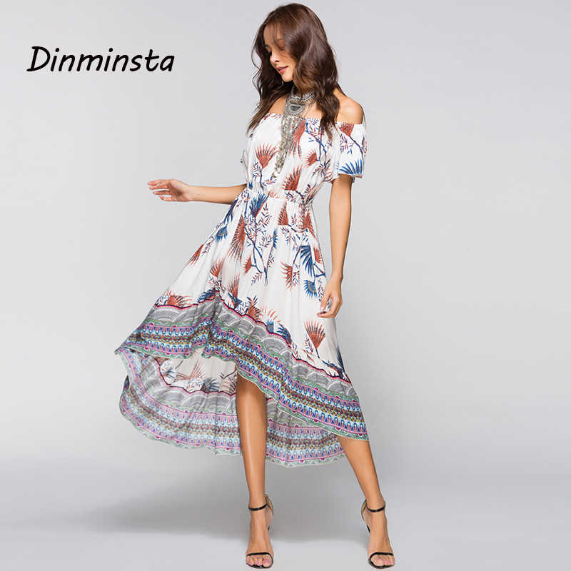 826d908f619 Dinminsta Women Summer Off Shoulder Bohemian Dress Boho Wrap Midi Dresses  Casual Loose Beach Floral Print