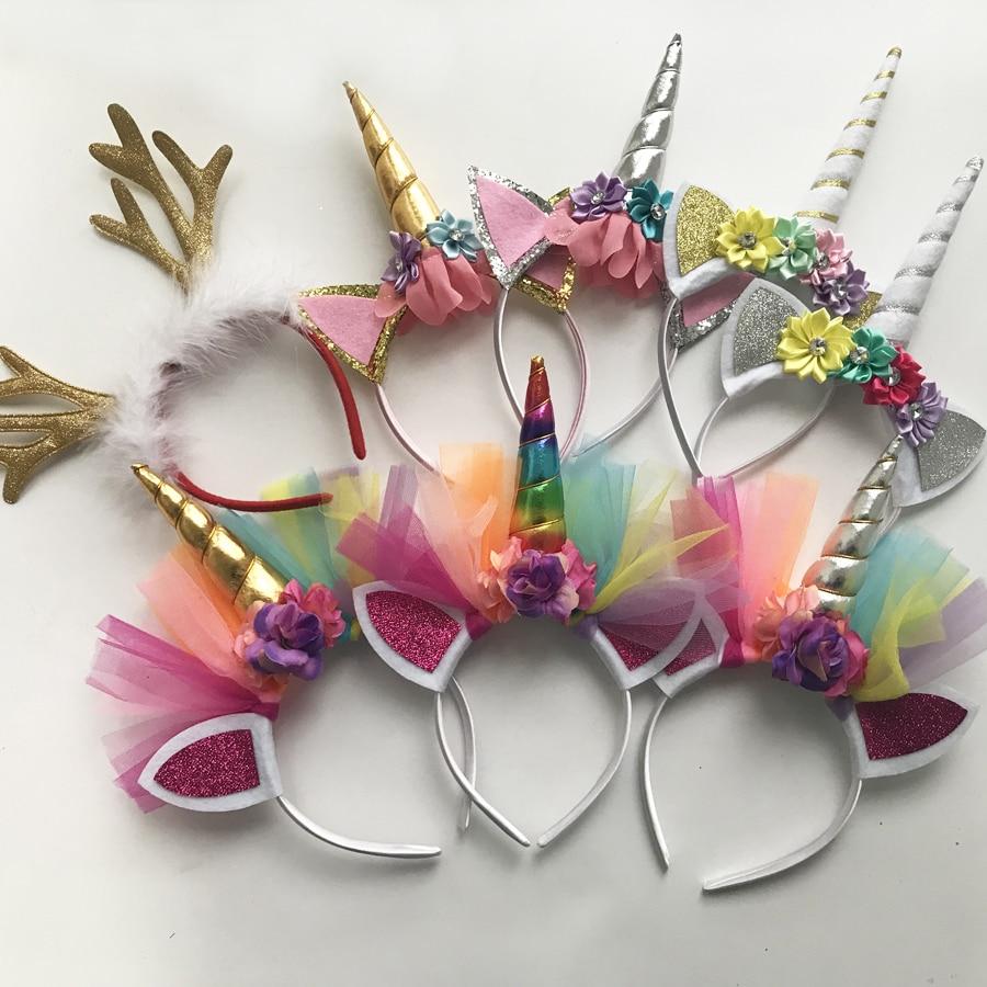 5 Pcs Glitter Unicorn Headband Girls Kids 2017 DIY Felt Unicorn Horn Headband Flowers Unicorn Party Hair Accessories Wholesale 2016 new wholesale felt rose flower with leaves headband girls hair accessories diy findings