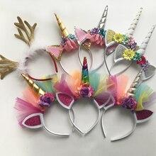 10PCS Glitter Metallic Unicorn Headband,For Girls And Kids 2017 DIY Felt Horn Headband,Unicorn Party Hair Accessories