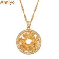 Anniyo круглый кулон с драконом ожерелья для женщин девочек бижутерия золотого цвета кубического циркония талисман украшения символ удачи #...