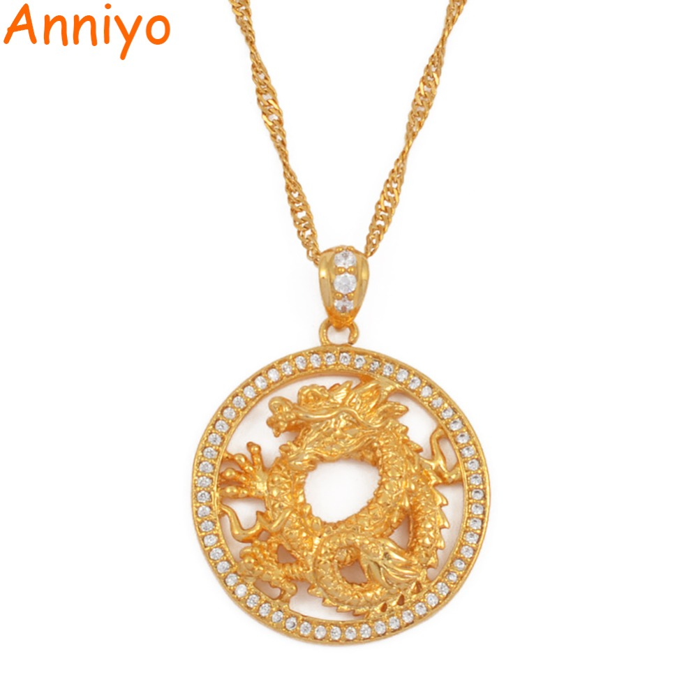 Anniyo Round Dragon Pendant Necklaces for Women Girls Gold Color Jewellery Cubic Zirconia Mascot Ornaments Lucky Symbol #064204Anniyo Round Dragon Pendant Necklaces for Women Girls Gold Color Jewellery Cubic Zirconia Mascot Ornaments Lucky Symbol #064204