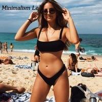 Minimalism Le Brand Sexy Bikini 2018 Bathing Suit Halter Top Swimwear Women Swimsuit Bikinis Beach Wear