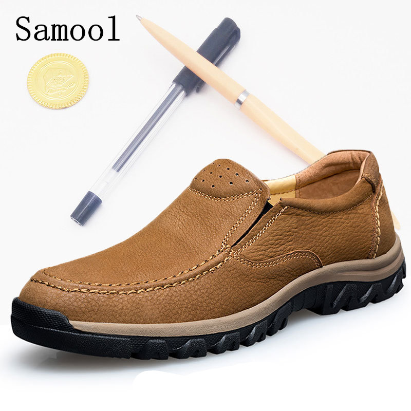Hot Sale Casual Shoes Men Autumn Winter Genuine Leather Slip-On Casual Shoes Man Fashion Classic Driving Shoes Big Size 37-47 branded men s penny loafes casual men s full grain leather emboss crocodile boat shoes slip on breathable moccasin driving shoes