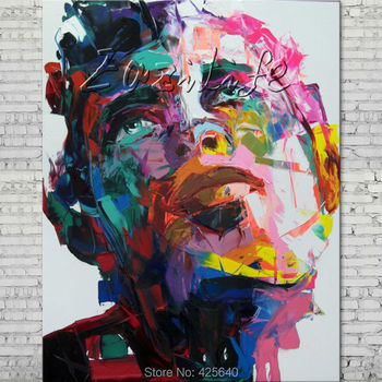 Palette knife portrait Face Oil painting Character figure canvas Hand painted Francoise Nielly wall Art picture 16-17