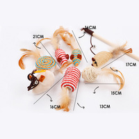 Newly 1Set Pet Cats Toys Funny Wooden Stick Mouse Kitty Toys Set XSD88