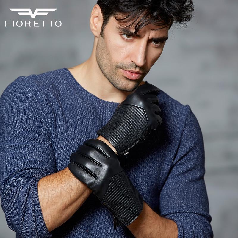 Бренд Fioretto Зимові модні чоловічі водіння Рукавички з натуральної шкіри Теплі рукавички з підкладкою на блискавці Чорний Коричневий рукавиця
