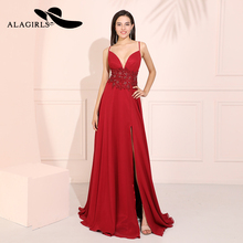 Alagirls Burgundy Chiffon Prom Dresses 2019 Sexy Spaghetti Evening Dress Vestido de fiesta Formal Party Dresses Robes de bal