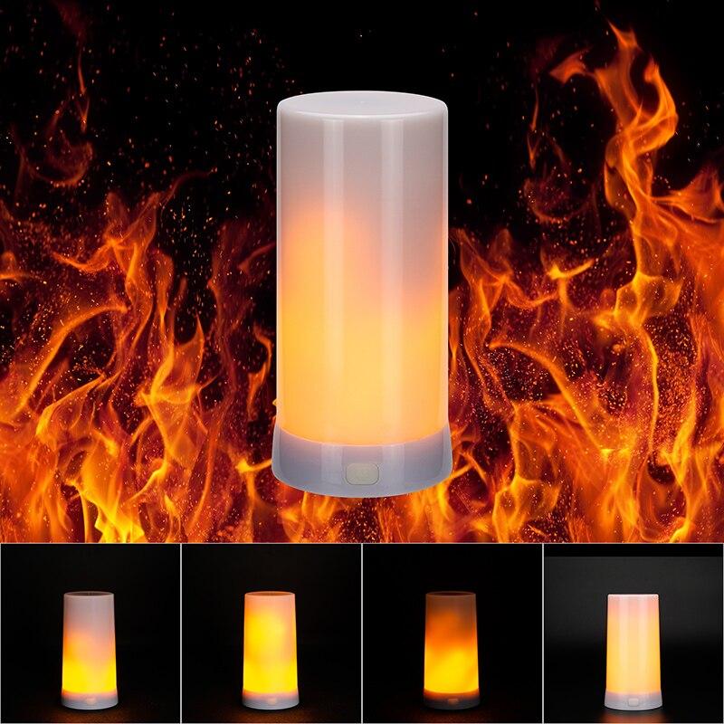 Gravity Sensor Led Flame Lamp Dynamic Flickering Dancing Effect 3 Modes Magnetic USB DC5V Charging Garden Courtyard Stage Light