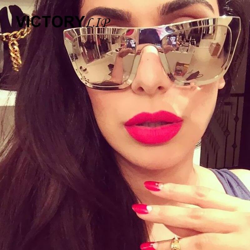 6f57497fbb Men Women Brand Designer Large Frame Mirror Sunglasses Male Shades UV400 Mirror  Sun Glasses Female VictoryLip