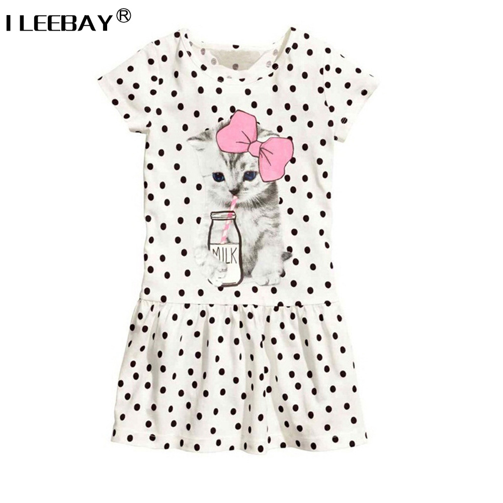 Baby Girl Clothes Girls Cute Dress Cat Drinking Milk Printed Children Casual Short Sleeve Clothing Kids Costumes Vetidoes 2-6Y 2017 flower girl dress casual daily style kids dress for girls spring baby girl clothes children brand clothing fashion hot sale
