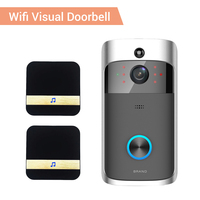 Campainha da porta de vídeo wifi hd à prova dwaterproof água 720 p visual câmera + 2 pçs dingdong para ios visão noturna ir intercom anel da porta telefone segurança|Campainha| |  -