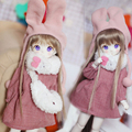 New Arrival 1/6 AS YOSD LATI LUTS BJD Suit/Clothes Lovely Pink Dress+Rabbit Scarf+Hat+Bag