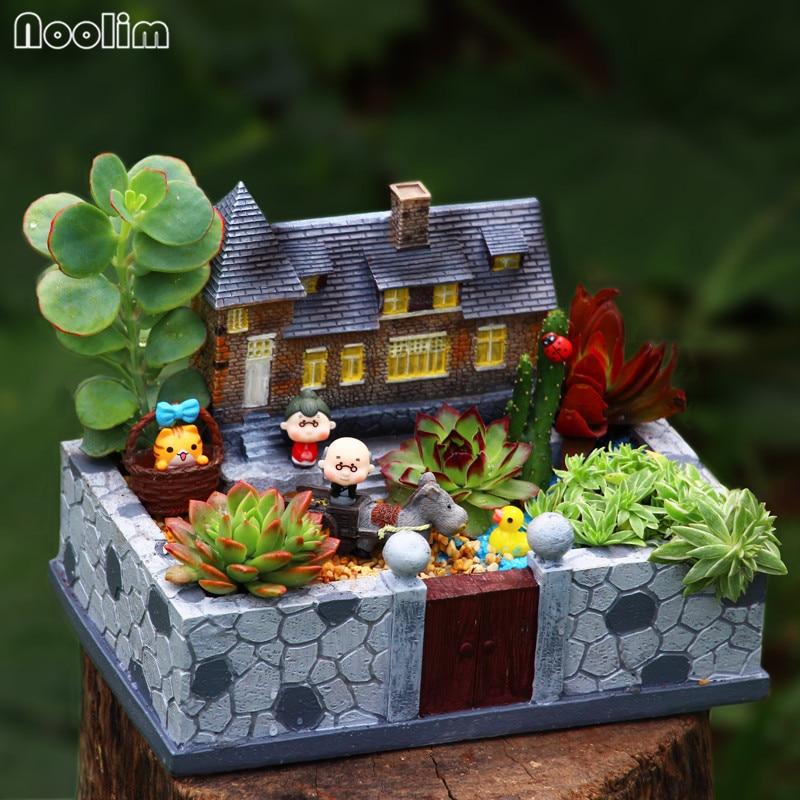 NOOLIM New Arrival Mansion Flower Pot Resin Flowerpot Succulent Plant Pots  Fairy Garden Bonsai Planter Home